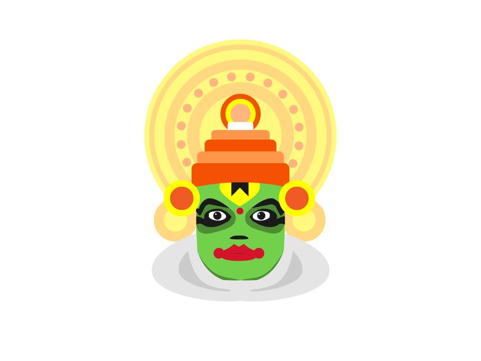 Kathakali icon vector flat illustration