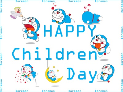HAPPY CHILDREN DAY with  doremon with  doremon
