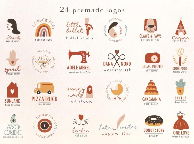 Bohema boutique logos premade logos bohemian logo feminine logos ui design logo branding icon illustration vector template minimal hand drawn