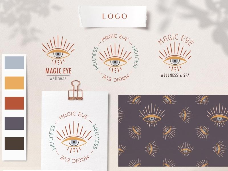 Wellness logo web magic eye spa logo wellness feminine logo bohemian logo branding icon illustration vector template minimal hand drawn