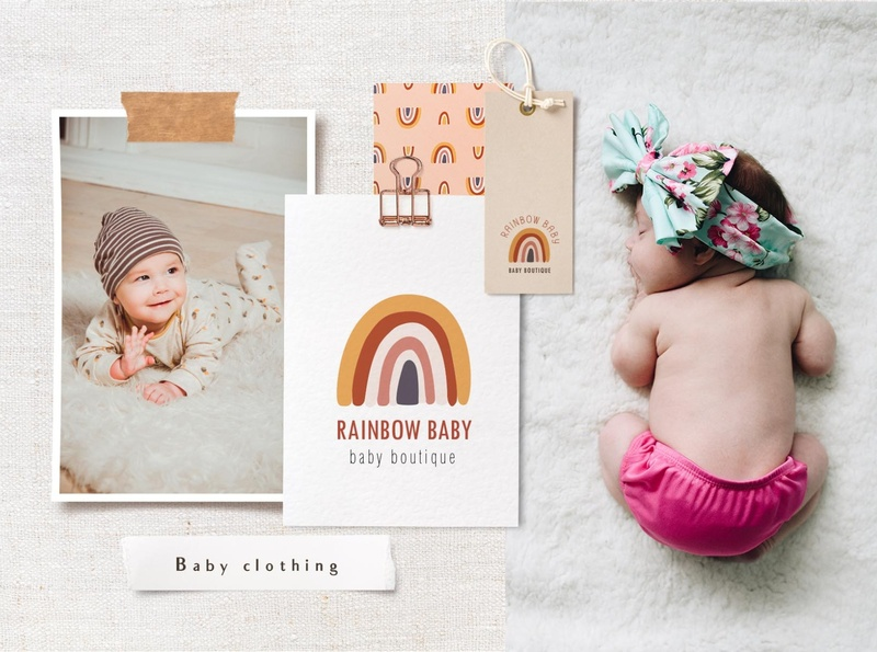 Baby clothing logo rainbow feminine logo baby clothes bohemian app logo branding icon illustration vector template minimal hand drawn