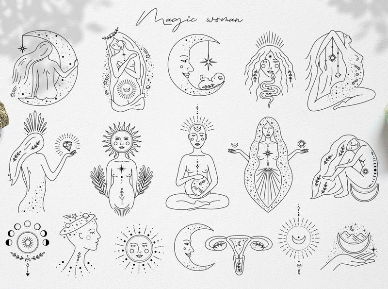 Magic woman feminine girl woman magic logo branding icon illustration vector minimal hand drawn
