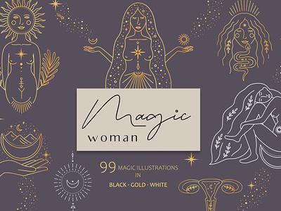 Magic woman feminine design magic woman ux ui branding icon illustration vector minimal hand drawn