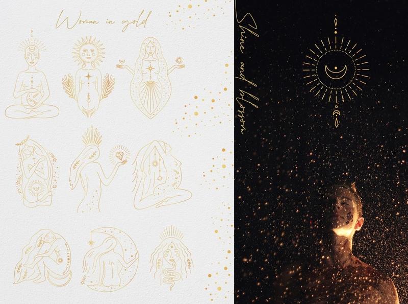 Magic woman gold magic woman feminine logo branding icon illustration vector minimal hand drawn