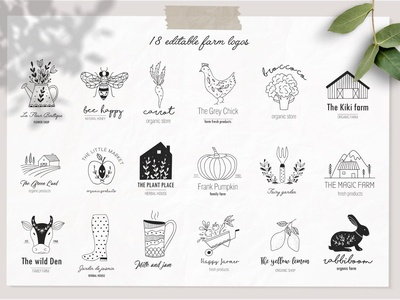 Farm love logos set