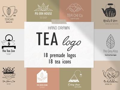 Tea logo set