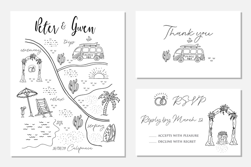 Wedding cards card rsvp creator map invitation card wedding vector template minimal icon hand drawn
