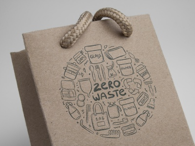 Zero Waste recycling reusable reuse no plastic zero waste illustration vector template minimal icon hand drawn