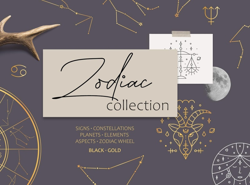 Zodiac Signs and Constellations zodiac constellations esoteric horoscope astrology zodiac sign minimal icon illustration vector template hand drawn