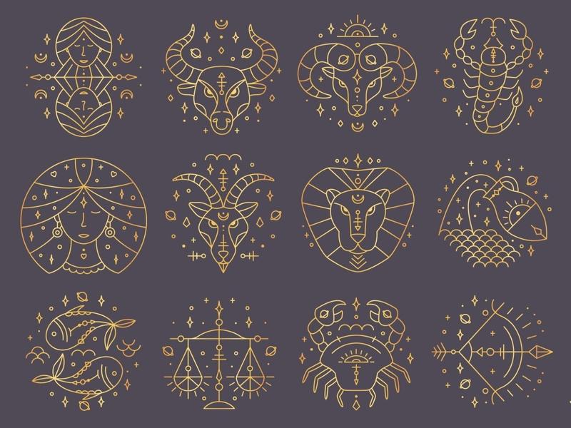 Zodiac Signs Gold astrology horoscope golden zodiac zodiac sign illustration vector template minimal hand drawn