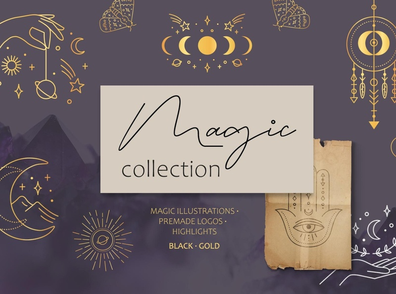 Magic collection astrology logo gold magic signs magic illustrations mystery machine magical branding icon illustration vector template minimal hand drawn