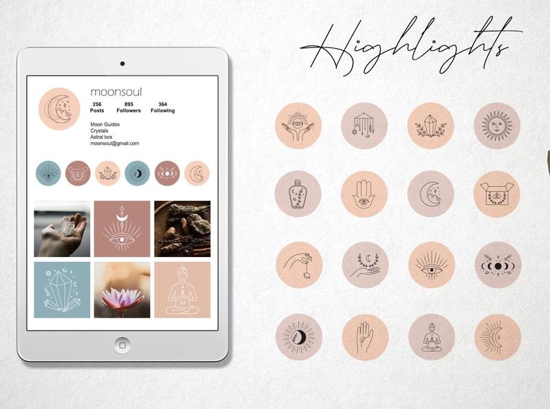 Magic highlights instagram template magic highlights magic symbols astrology mystery magic logo icon illustration vector template minimal hand drawn