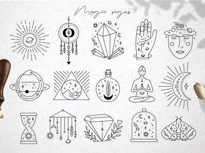 Magic signs astrology mystery magic web logo icon illustration vector template minimal hand drawn