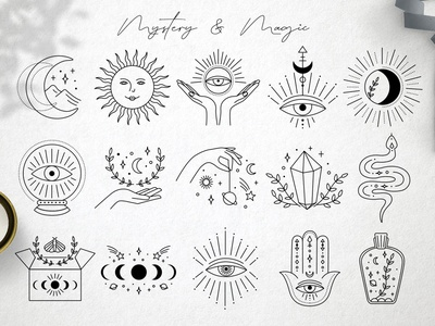 Mystery icons astrology magic mystery web logo branding icon illustration vector template minimal hand drawn