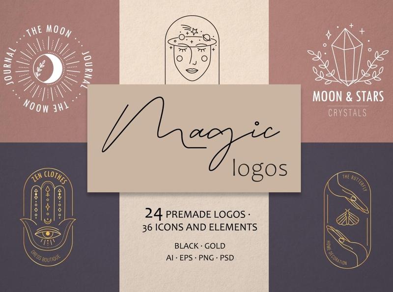 Magic logo astrology zodiac mystery magic logo web logo branding icon illustration vector template minimal hand drawn