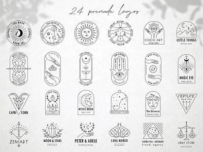 Magic logo zodiac sign astrology mystery magic logo design web logo branding icon illustration vector template minimal hand drawn