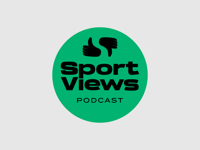 Sport Views Podcast logo thumbs up hands sports sport podcast type typography design vector logo design logotype logo