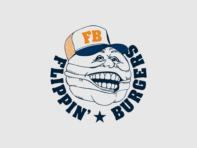 Flippin' Burgers logo figure cap burgers hamburger sketch illustration type typography design vector logo design logotype logo