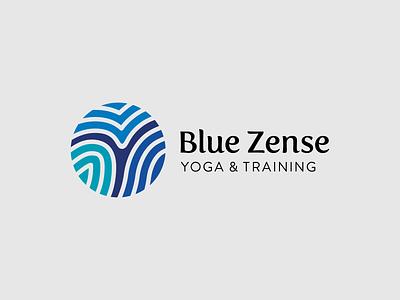 Blue Zense logo health training yoga illustration type typography design vector logo design logotype logo