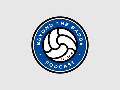 Beyond the Badge Podcast logo podcast badge ball soccer football illustration type typography design vector logo design logotype logo