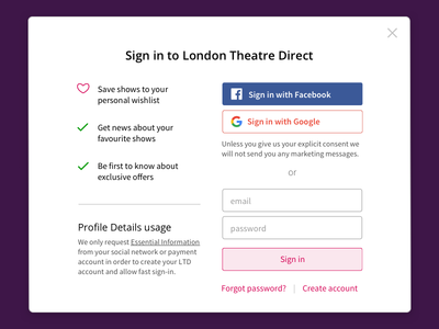 Sign in Modal window