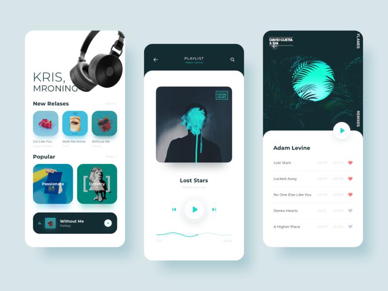 Music App Design flat moblie ios album music player app design music app music ux concept app ui design