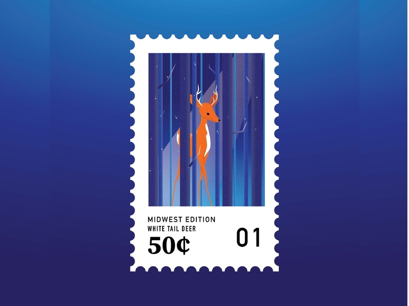 Midwestern Stamps: White Tail Deer