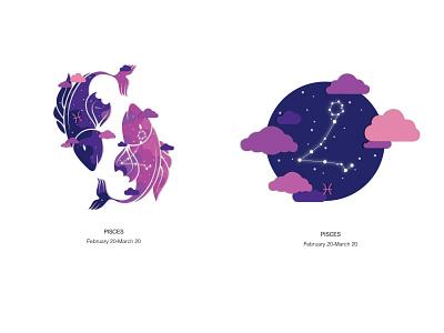 Zodiac Pisces zodiac design vector illustration