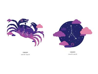 Zodiac Cancer space crab zodiac design vector illustration