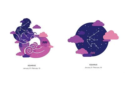 Zodiac Aquarus space zodiac design vector illustration