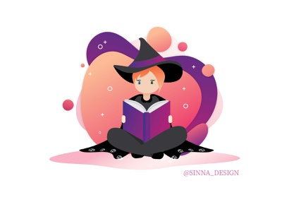 Witch Studying gradient design vector illustration