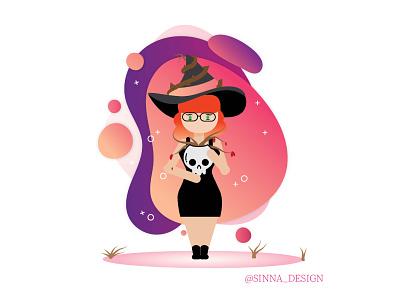 Witches Gardner gradient witch vector design illustration