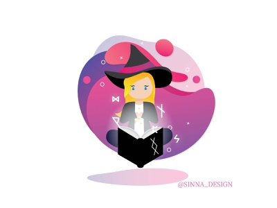 Witches Floating witchcraft gradient floating witch design vector illustration