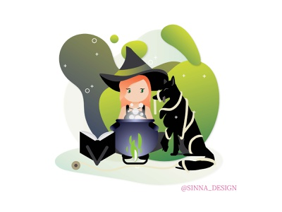 Witch and her assistant dog witch witches gradient design vector illustration