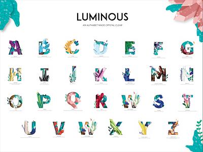 Luminous Crystal Alphabet type alphabet crystal design vector illustration