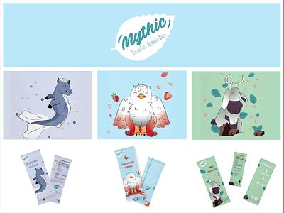 Mythic Sugar Free Granola Bars packagingdesign granolabar children kids packaging design vector illustration