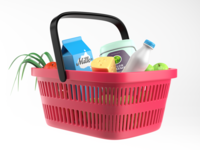 3D Illustration – basket full of goods