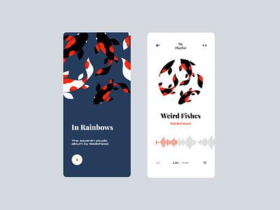 Music App fishes musicapp music weirdfishes radiohead mobile app color app design app illustration web minimal design ux ui