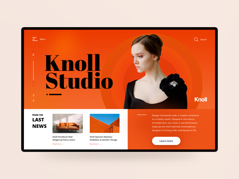 Knoll Studio Header woman girl model typogaphy studio orange web design webdesign ui shot fashion beauty hero header hero section hero image hero banner header design header image headers header