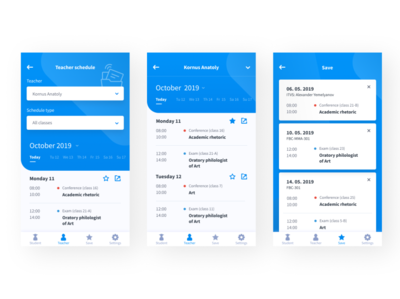 Schedule-App for University application webdesign uidesign design ui uiux timeline save teacher blue app design app ux app ui app university schedule