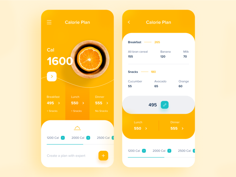 App for you health yellows uidesign yellow calorie app webdesign uiux design ui