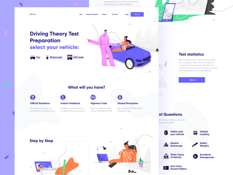 Driving Test Preparation Website header design design webdesign uxdesign uidesign draw exam test driving test drive uiux illustration ui