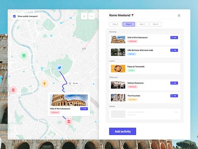 Sunday Design Fun ui rome agenda schedule list itinerary trip map