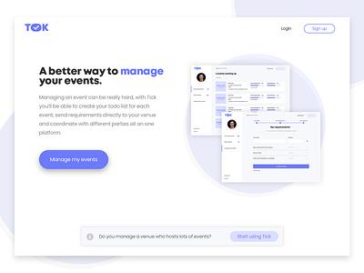 Event management platform web sketch management landing page
