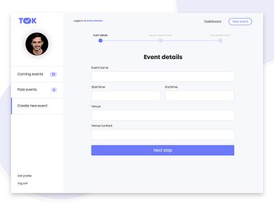 Event management platform 2 dashboard event progress navigation tabs form