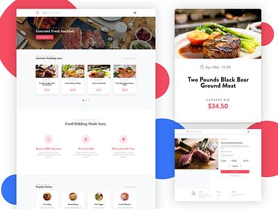 Food auction website product sketch card gourmet landing ecommerce food design