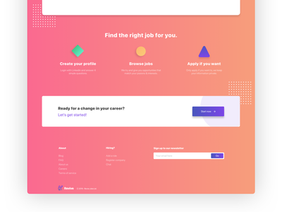 Landing page footer footer design pastel shapes cta sign up apply call to action landing footer