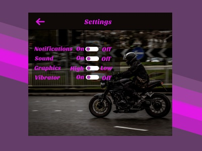 Game Settings for my Daily ui challenge.