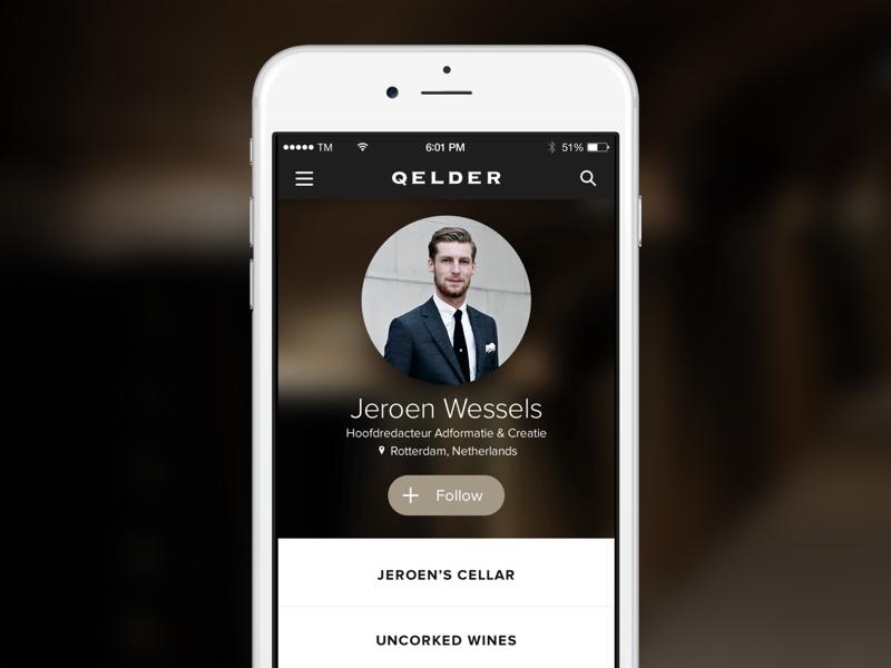 Qelder Mobile App profile ux ui netherlands wines mobile app screen qelder