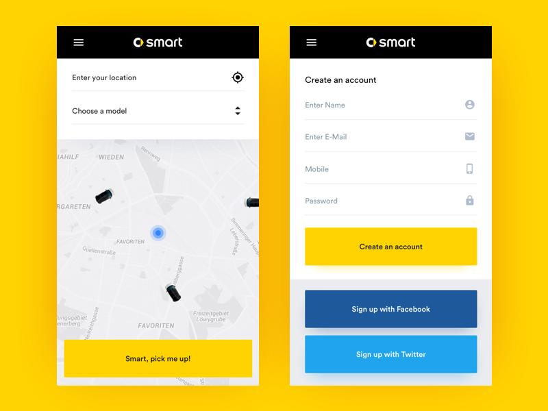 Smart Ride! ux ui uidesign flat car smart auto brandesing userinterface app appdesign
